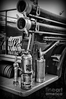 Photograph - Fireman Things On The Truck Black And White by Paul Ward