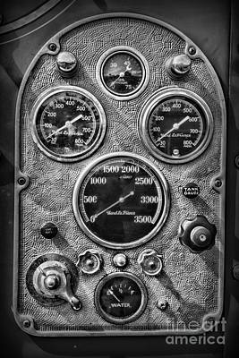Photograph - Fireman-vintage Control Panel Black And White by Paul Ward
