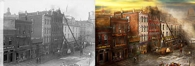 Fireman - Washington Dc - Fire At Bedell's Bedding 1915 - Side By Side Art Print by Mike Savad