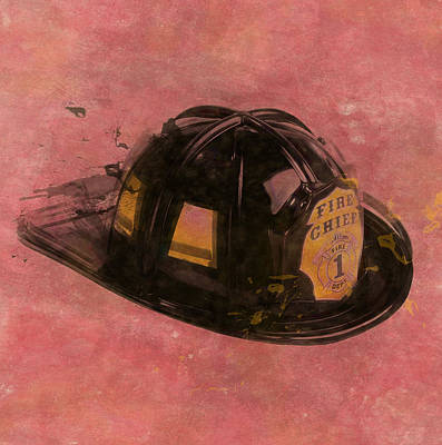 Fire Department Painting - Fireman's Helmet by Dan Sproul