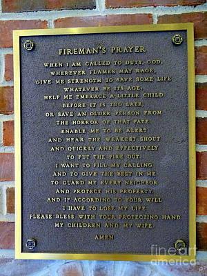 Photograph - Fireman's Prayer by Ed Weidman