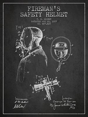 Firemans Safety Helmet Patent From 1889 - Dark Art Print by Aged Pixel