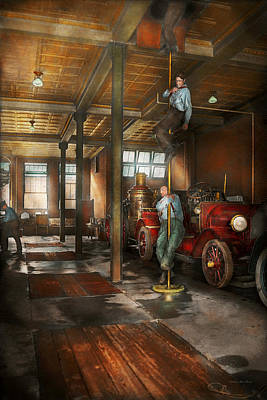 Photograph - Firemen - Answering The Firebell 1922 by Mike Savad