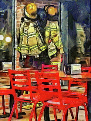 Photograph - Firemen Suits by Leslie Montgomery