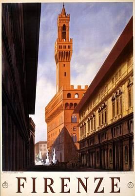 Mixed Media - Firenze, Italy - Palazzo Vecchio Tower - Retro Travel Poster - Vintage Poster by Studio Grafiikka