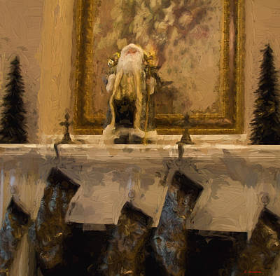 Painting - Fireplace At Christmas by Cathy Jourdan