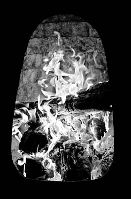 Photograph - Fireplace Black And White by Jill Reger