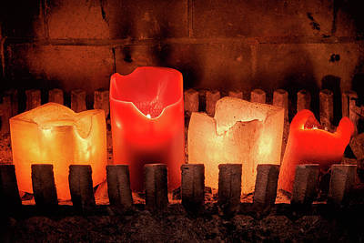 Photograph - Fireplace Candles by Jim Hughes