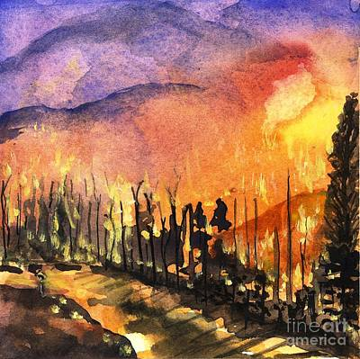 Painting - Fires In Our Mountains Tonight by Randy Sprout
