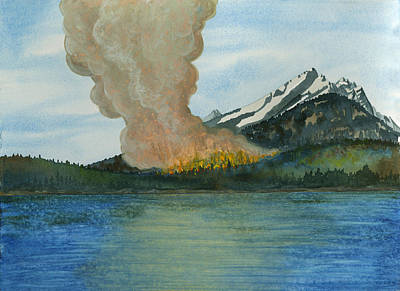Wildfire Painting - Fire's Reflection by Tonja Opperman