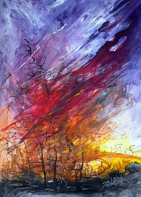 Painting - Firescape by Jan VonBokel