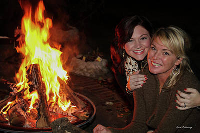 Photograph - Fireside Sisterly Love Night Photography Art by Reid Callaway