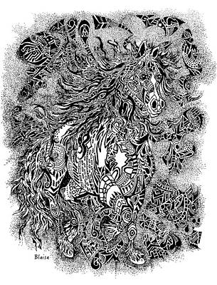 Drawing - Firestorm In Black And White by Yvonne Blasy