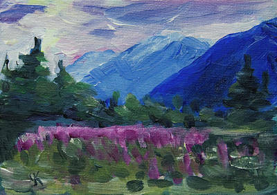 Painting - Fireweed At Outer Point Alaska by Yulia Kazansky