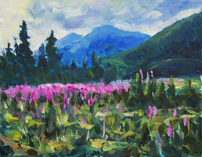 Painting - Fireweed In Alaska by Yulia Kazansky