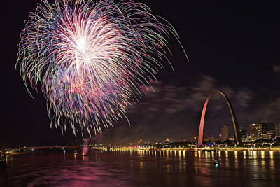 Photograph - Fireworks At The Arch by Harold Rau