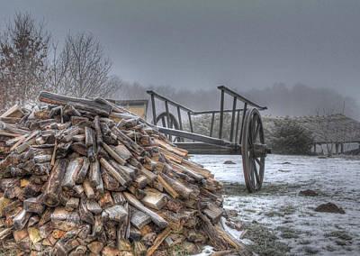 Wagon Photograph - Medieval Village - Firewood by Jan Boesen