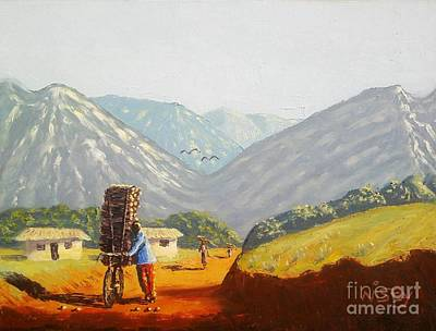 Malawi Painting - Firewood Seller by Nisty Wizy