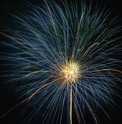 Photograph - Firework Celebration Blue And Gold Square by Terry DeLuco
