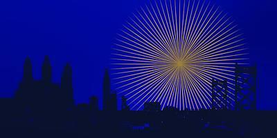 Dark Digital Art - Firework Over Philadelphia Skyline by Alberto RuiZ