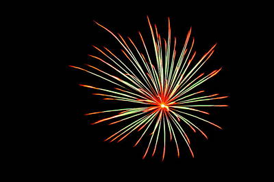 Photograph - Fireworks 016 by Larry Ward