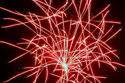 Photograph - Fireworks 021 by Larry Ward