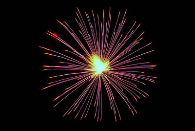 Photograph - Fireworks 034 by Larry Ward