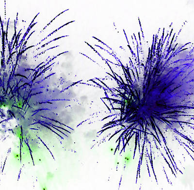 Photograph - Fireworks 16 2018 Abstracted by Mary Bedy