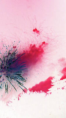 Photograph - Fireworks 17 2018 Abstracted by Mary Bedy