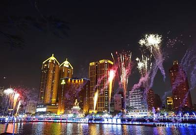 Print featuring the photograph Fireworks Along The Love River In Taiwan by Yali Shi