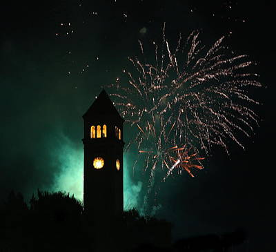 Photograph - Fireworks And Clock Tower by Doug Oriard