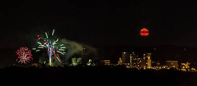 Photograph - Fireworks And Moon Over Asheville by John Haldane