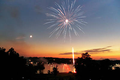 Photograph - Fireworks And Sunset by Amber Flowers