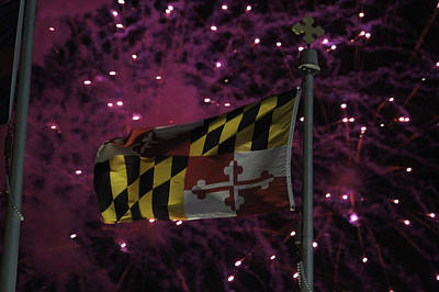 Photograph - Fireworks And The Maryland Flag by Robert Banach