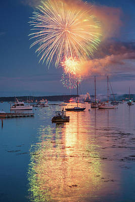 Photograph - Fireworks At Boothbay Harbor by Darylann Leonard Photography