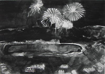 Fireworks At Eagle Nest Lake...0oohh..aahh.. Art Print by Laurie Hill Phelps