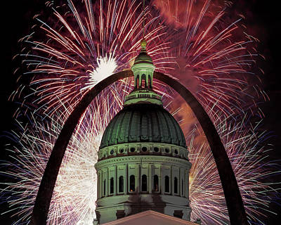 Photograph - Fireworks At Gateway Arch National Park  by Susan Rissi Tregoning