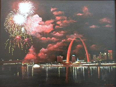 Fireworks At The Arch Art Print by Marti Idlet