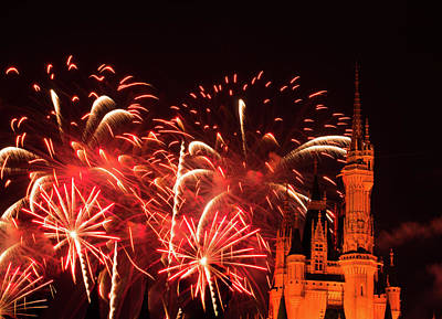 Fairy Photograph - Fireworks At The Cinderella Castle by Zina Stromberg
