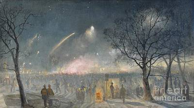 Fireworks Painting - Fireworks At The Serpentine by MotionAge Designs