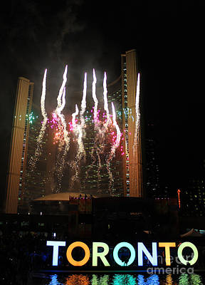 Photograph - Fireworks At Toronto City Hall by Nina Silver