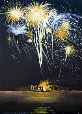 Fireworks Bonfire On The West Bar Art Print by Charles Harden