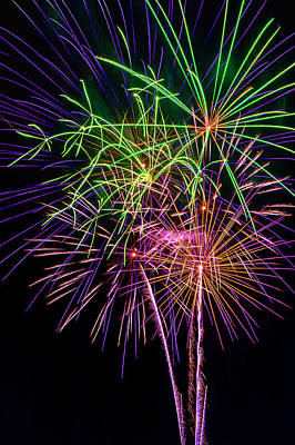 Photograph - Fireworks Bursting In Air by Garry Gay