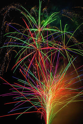 Photograph - Fireworks Bursting In Sky by Garry Gay