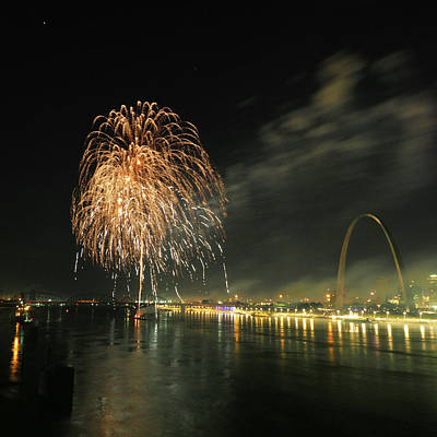 Photograph - Fireworks By The Levee by C H Apperson