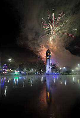 Photograph - Fireworks Clock Tower Reflection 2016 by Paul DeRocker