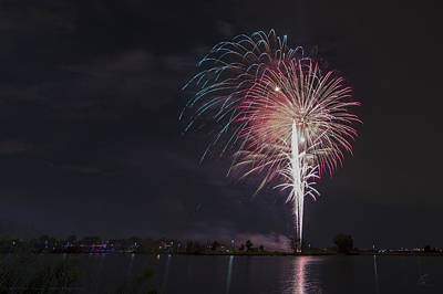 Photograph - Fireworks Display On The Lake by Chris Thomas