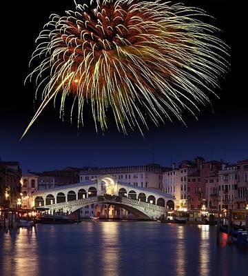 Fireworks Display, Venice Art Print by Tony Craddock