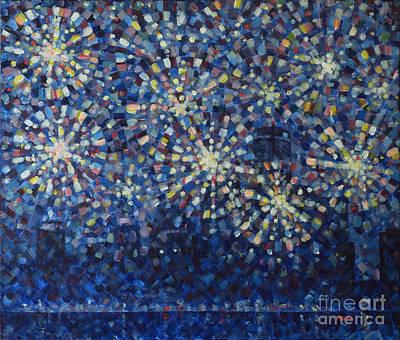 Fireworks Finale Cityscape Original by Jim Rehlin