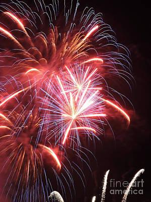 Burning Night Time Sky Photograph - Fireworks by GabeZ Art